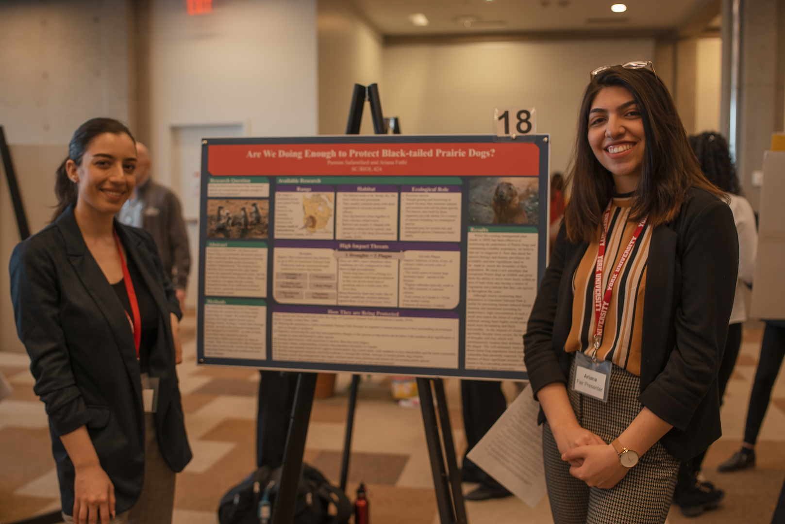 Two girls standing in front of their project poster